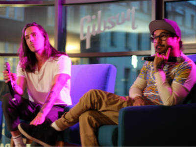 Brandon and José from Incubus at a Q&A at Gibson Showroom, Berlin